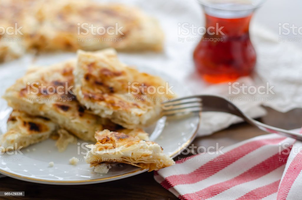 Sliced cheese pastry on the table royalty-free stock photo