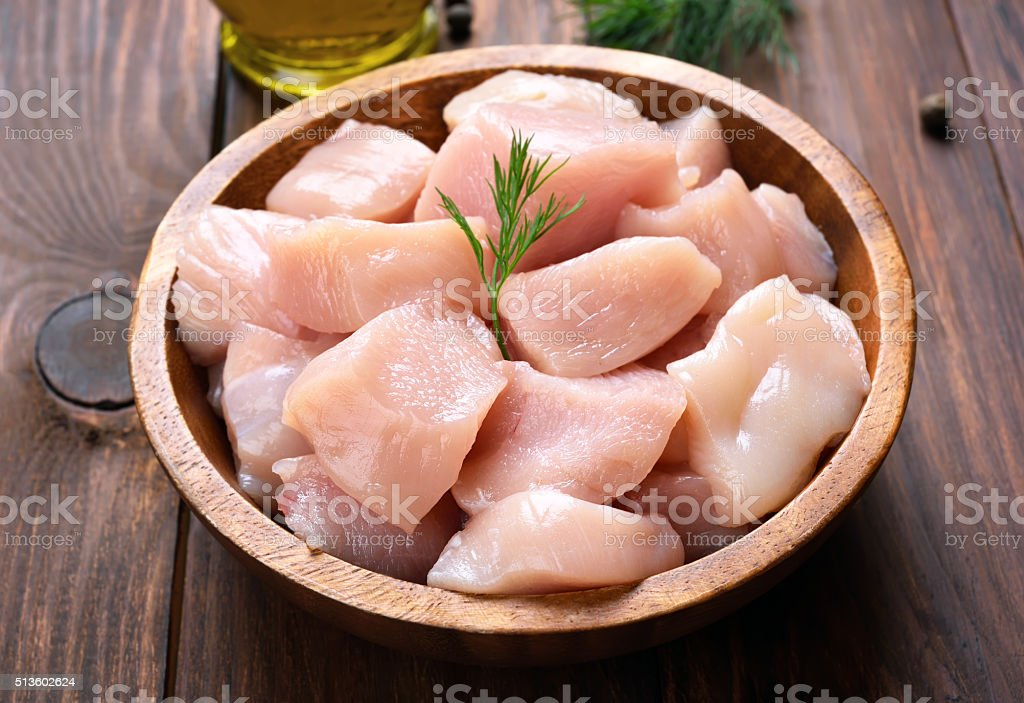 Sliced chicken meat stock photo