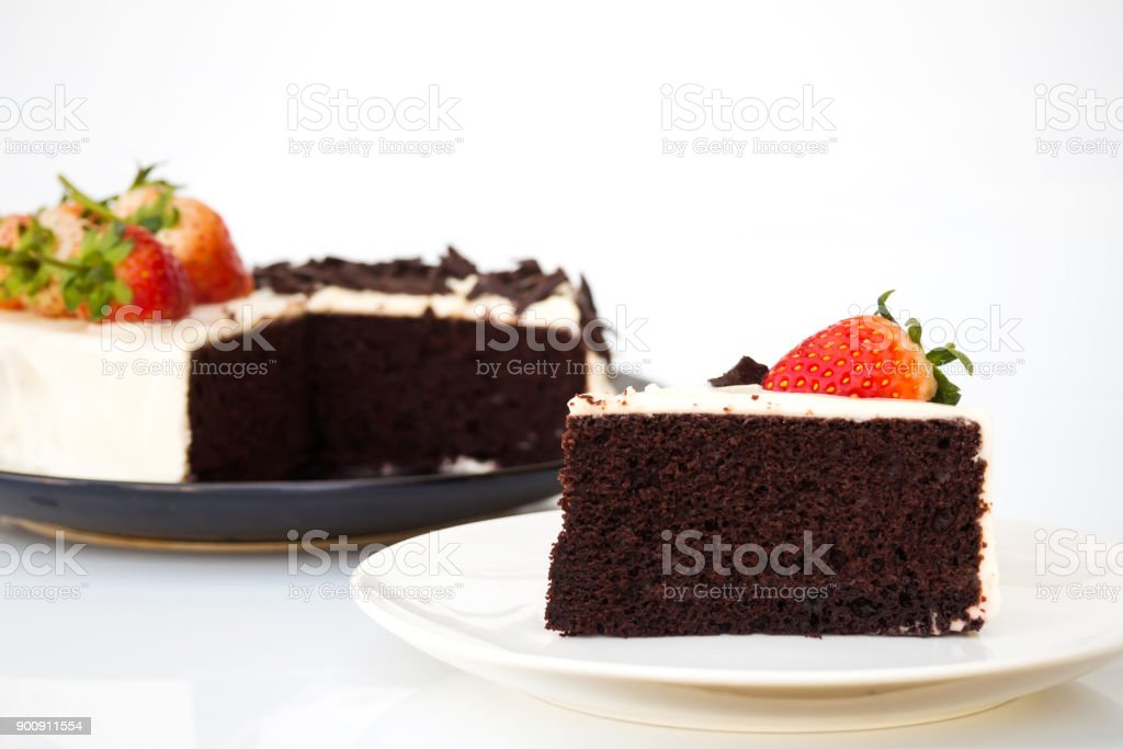 Geschnittene Schokolade Kuchen Dekorieren Mit Schlagsahne Sahne