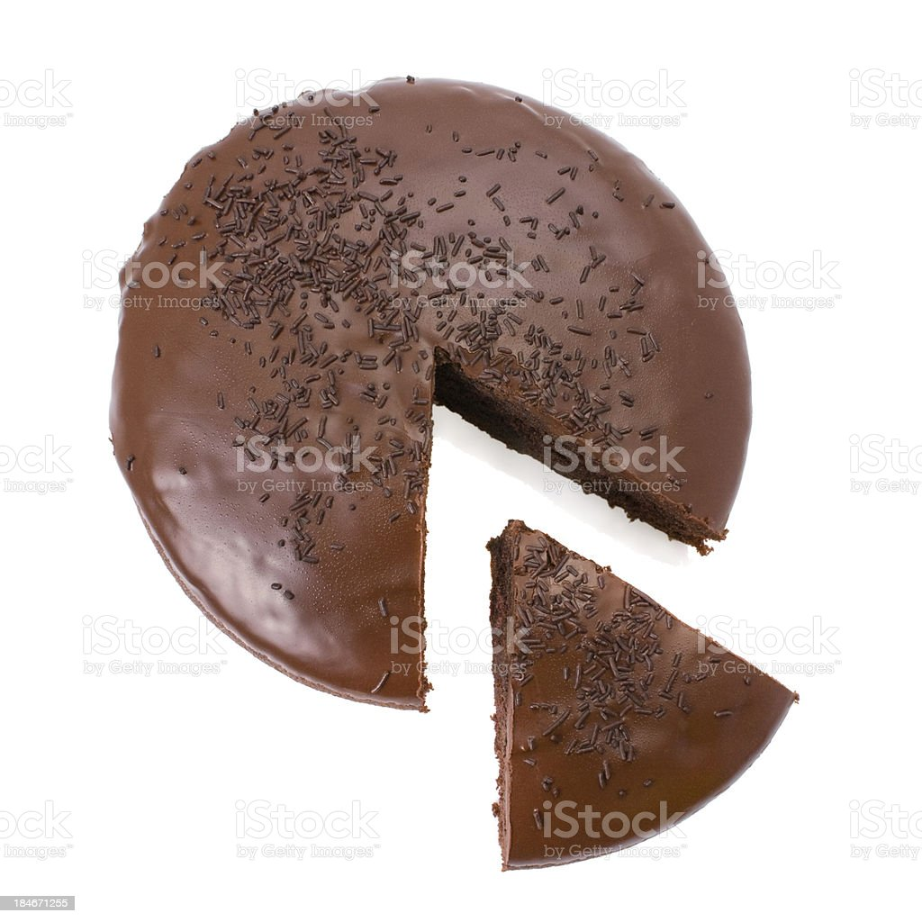 Sliced chocolate fudge cake isolated on white background stock photo