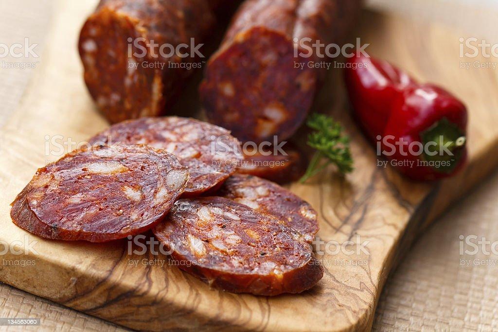 Sliced Chorizo Sausage stock photo