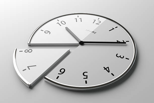 Sliced clock stock photo