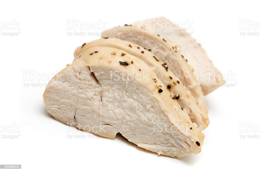 Sliced cooked chicken breast against white stock photo
