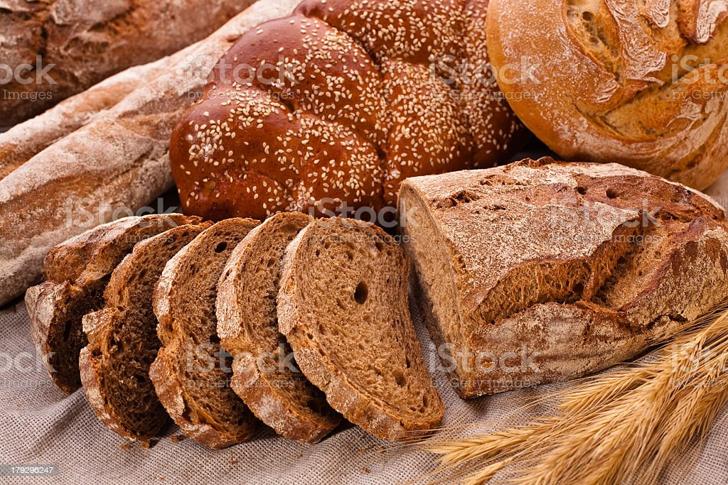 Sliced country-styled brown bread stock photo