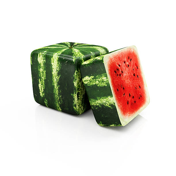 Sliced Cube Watermelon stock photo