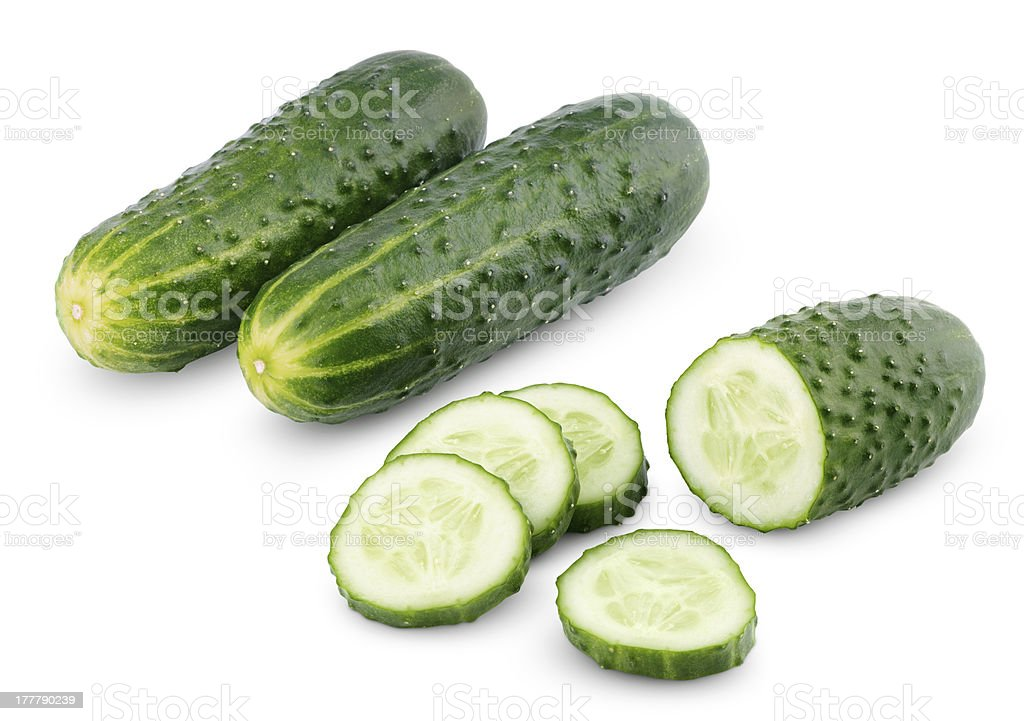 Sliced cucumber isolated on white royalty-free stock photo