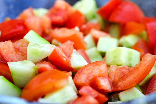 Sliced Cucumbers And Tomatoes Close Up Stock Photo - Download Image Now