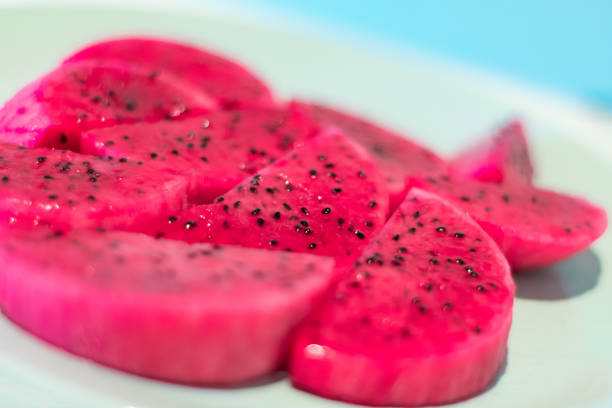Sliced Dragon Fruit stock photo