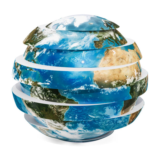 sliced earth globe, 3d rendering isolated on white background - physical geography stock photos and pictures