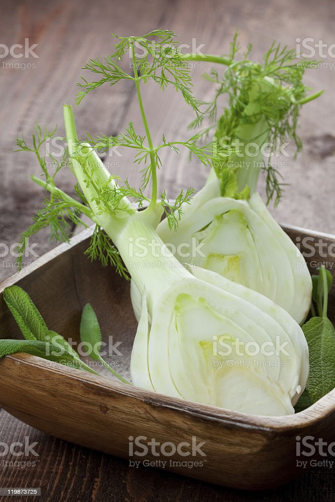 sliced fennel stock photo