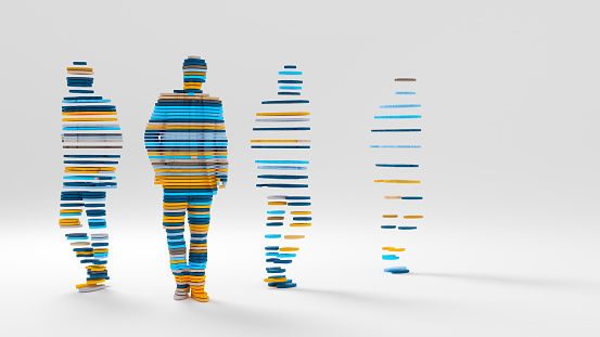 Abstract 3D render of a sliced male figure