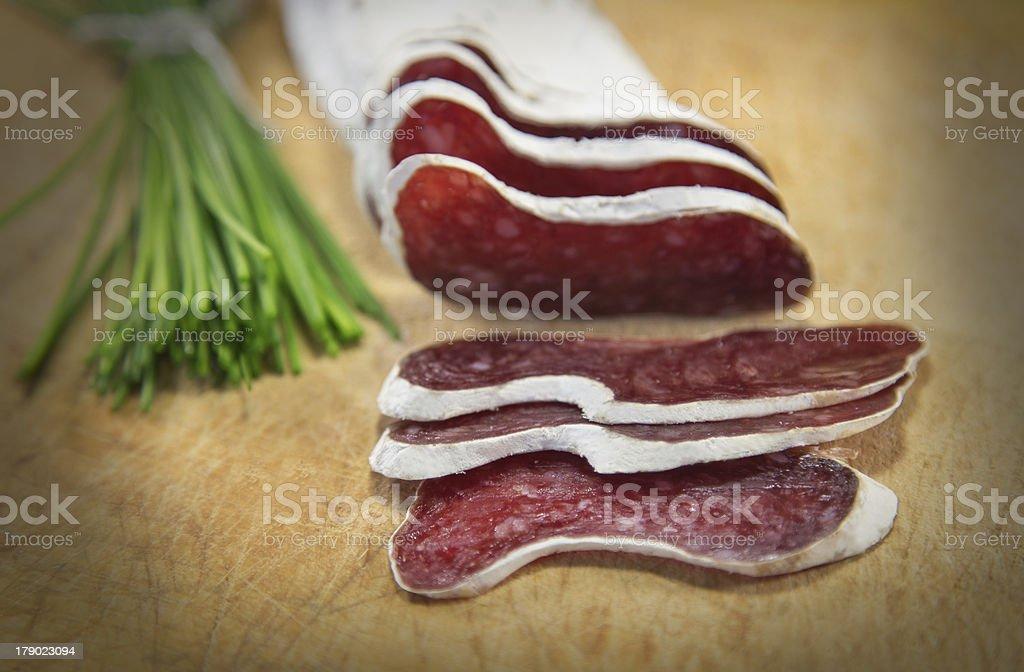 Sliced french salami royalty-free stock photo