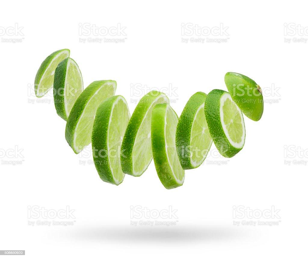 sliced  fresh lime stock photo
