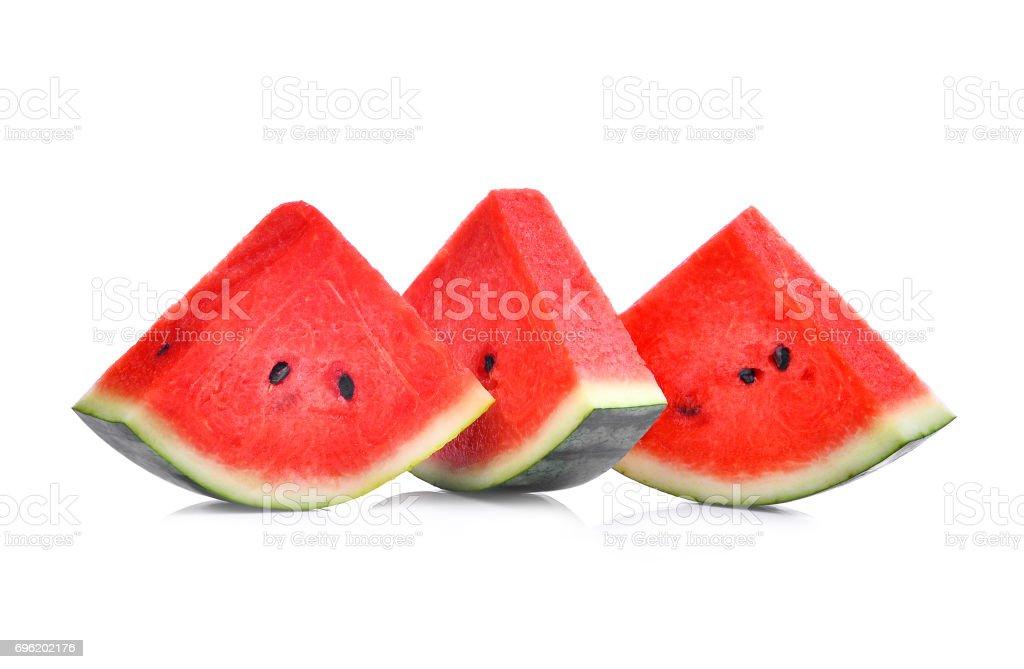 sliced fresh watermelon isolated on white background stock photo