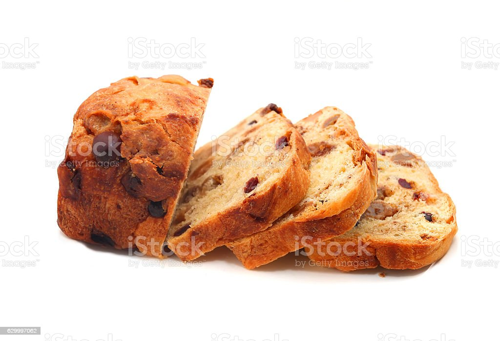 sliced fruit bread stock photo