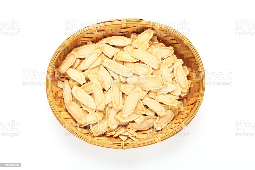 Sliced ginseng stock photo