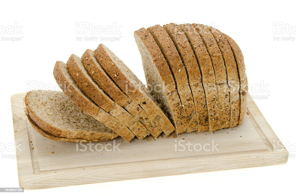 Sliced granary bread loaf stock photo