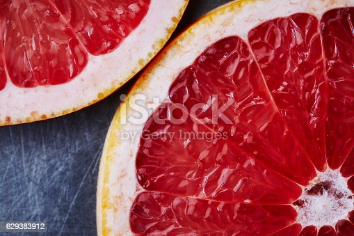 Close-up view of a sliced grapefruit