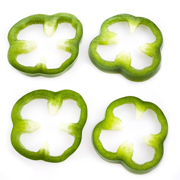 Sliced green pepper stock photo