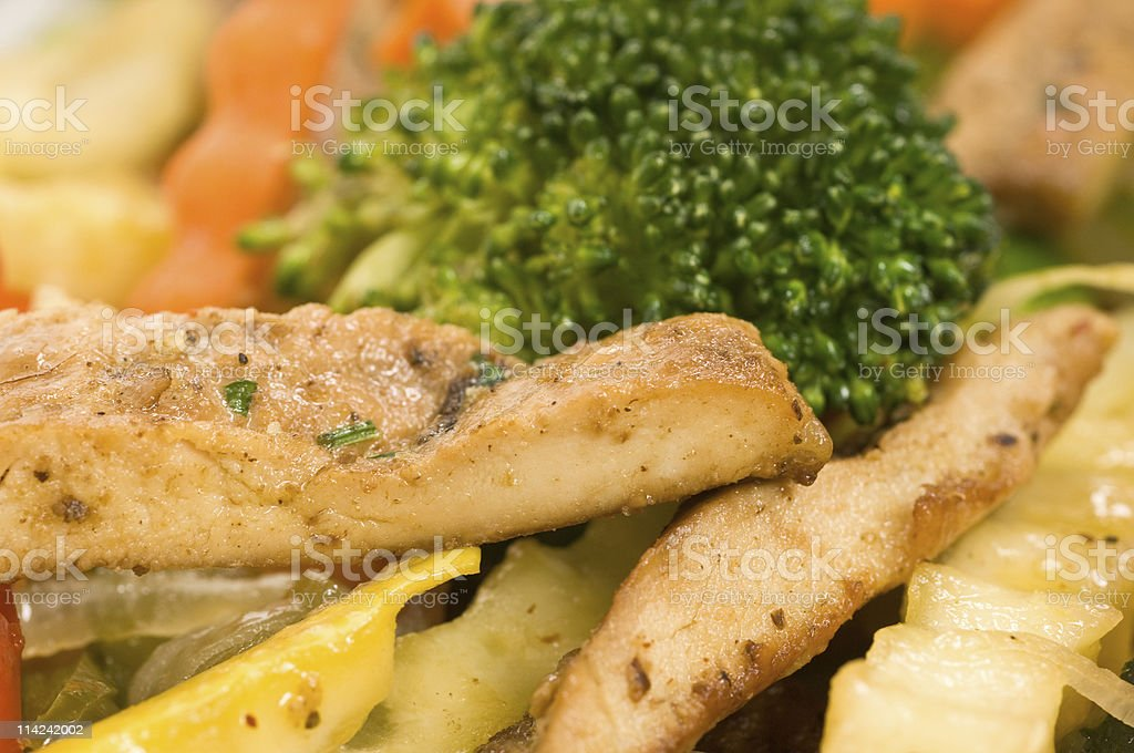 sliced grilled chicken breast with vegetables royalty-free stock photo