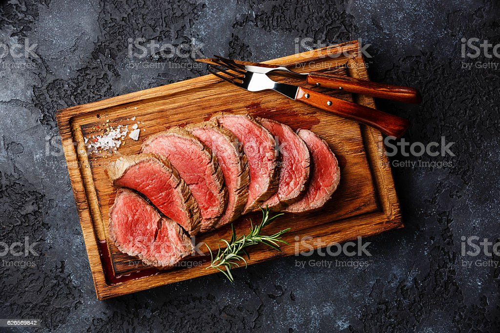 Sliced grilled tenderloin Steak roastbeef stock photo