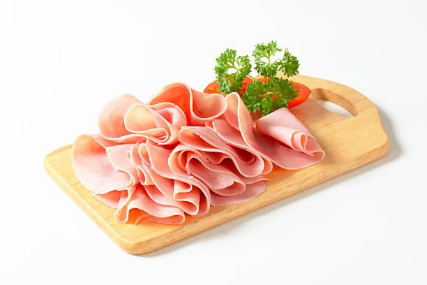 Sliced ham stock photo