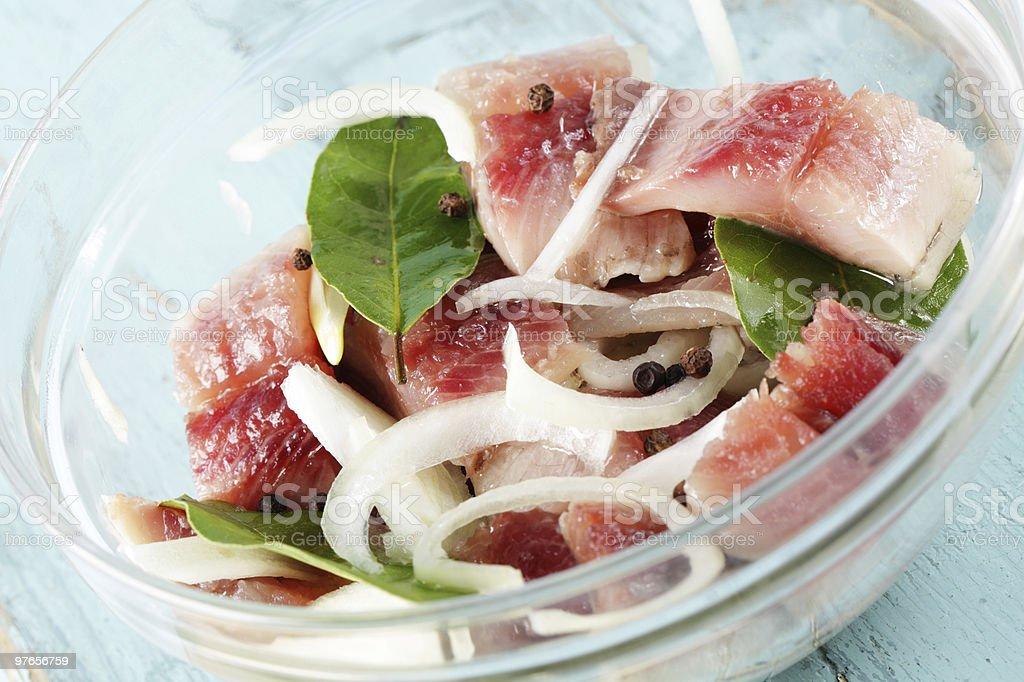 Sliced herring royalty-free stock photo