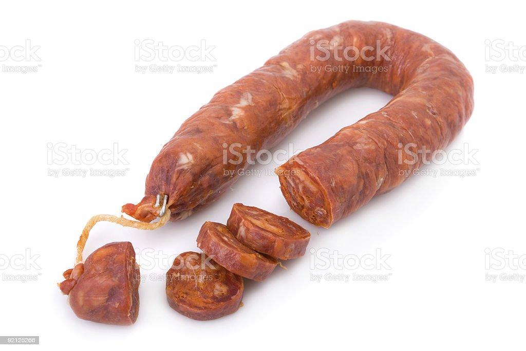 Sliced Iberian Portuguese chorizo sausage on white stock photo