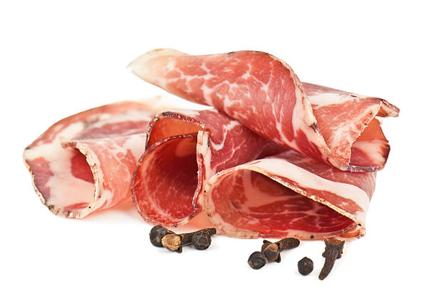sliced italian ham stock photo