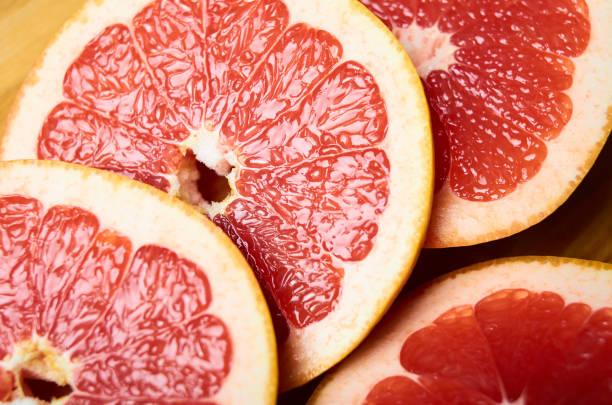 sliced juicy grapefruit close up