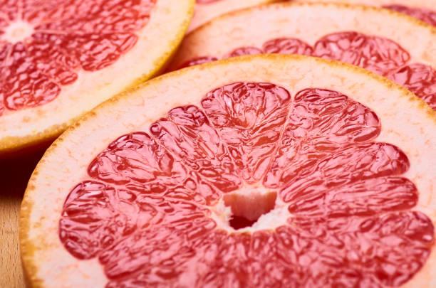 sliced juicy red grapefruit