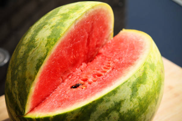 A sliced juicy watermelon photo stock photo