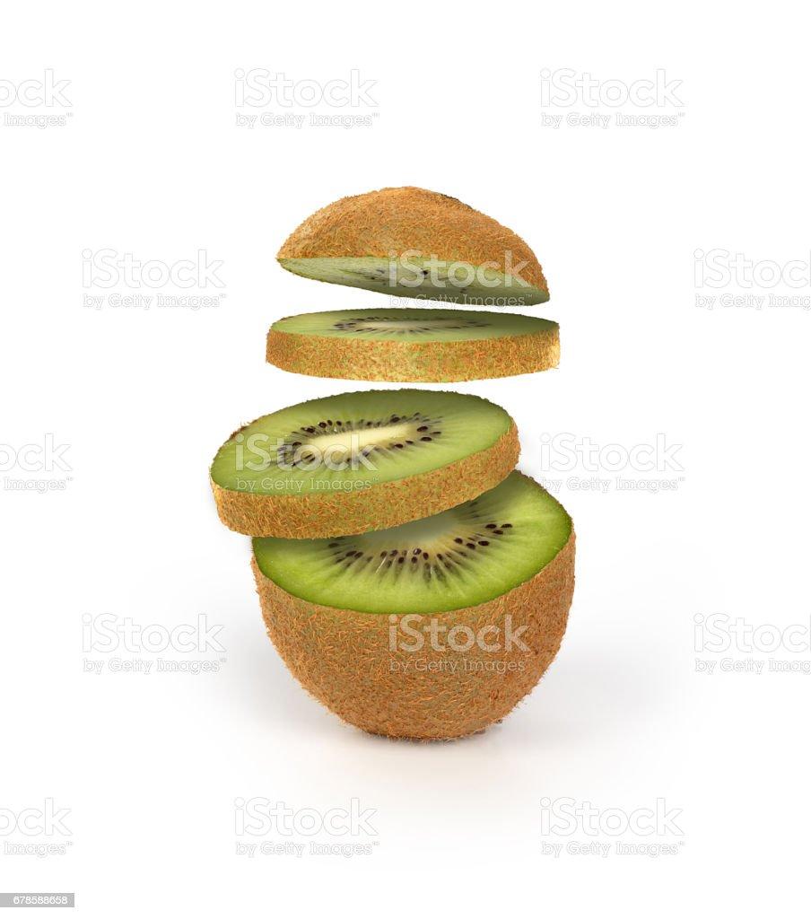 sliced kiwi on a white background stock photo
