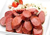 Sliced Knackwurst german sausages