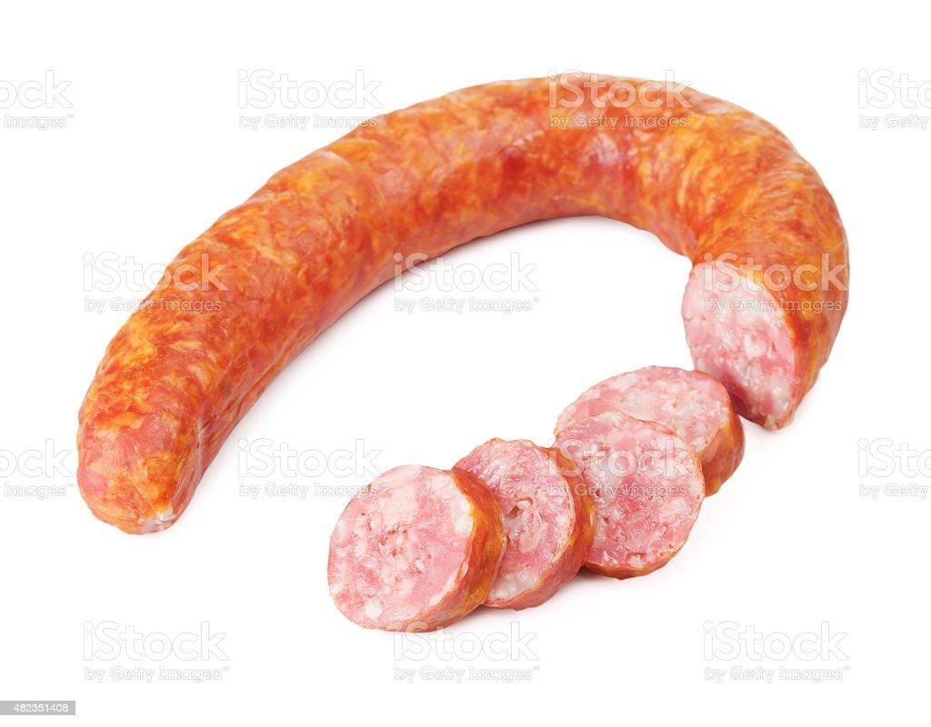 Sliced Krakow Sausage stock photo