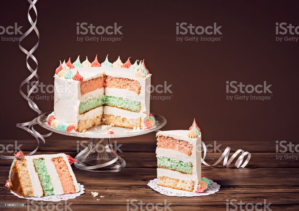 Sensational Sliced Layered Birthday Cake Stock Photo Download Image Now Istock Birthday Cards Printable Nowaargucafe Filternl