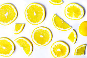 Sliced lemons background pattern isolated flay lay