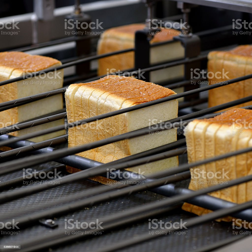 Sliced Loaf of Production Line stock photo