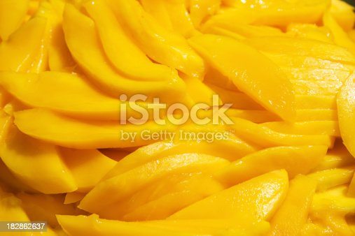 Fresh Mango slices as a background.
