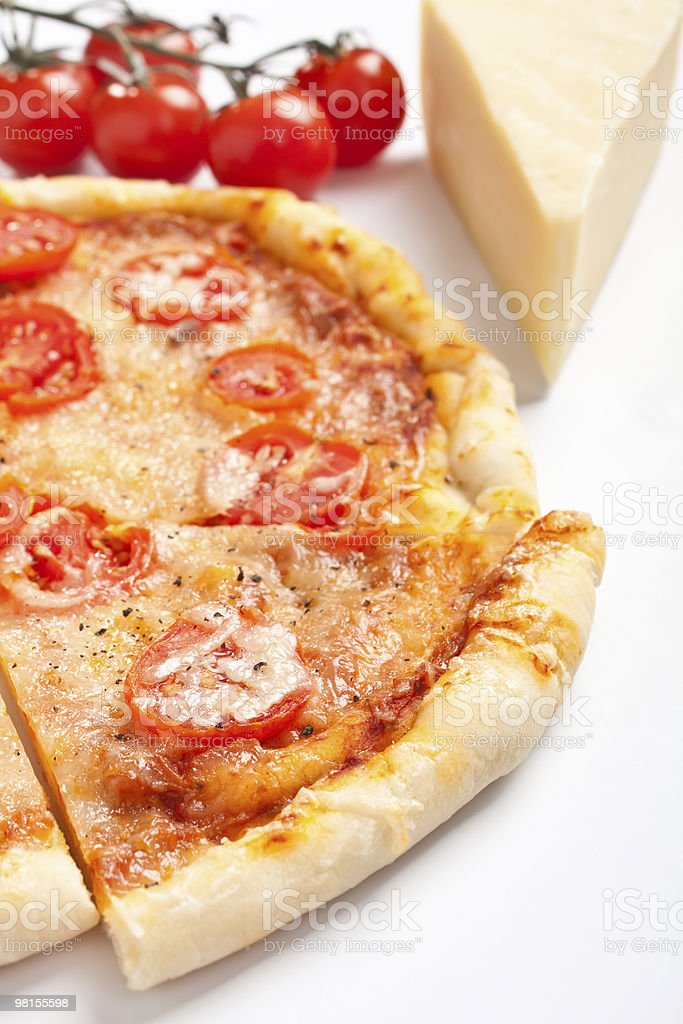 sliced margarita pizza royalty-free stock photo