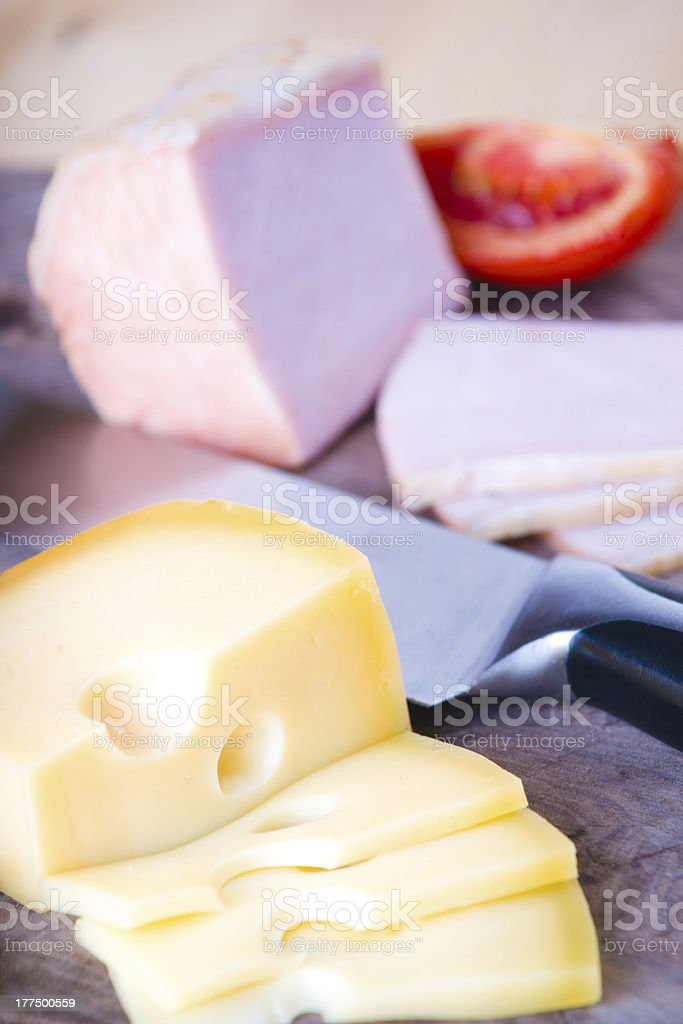 Sliced meat and cheese royalty-free stock photo
