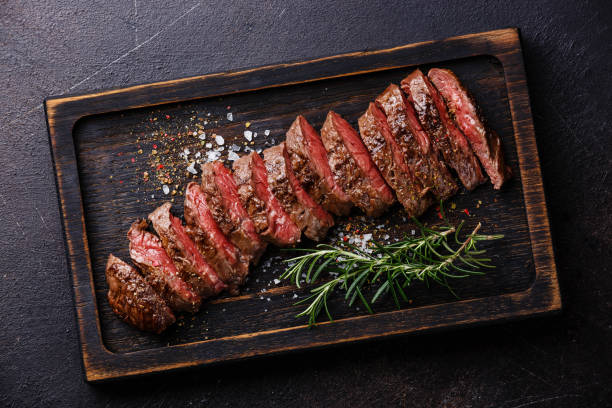 Sliced meat barbecue steak Machete stock photo