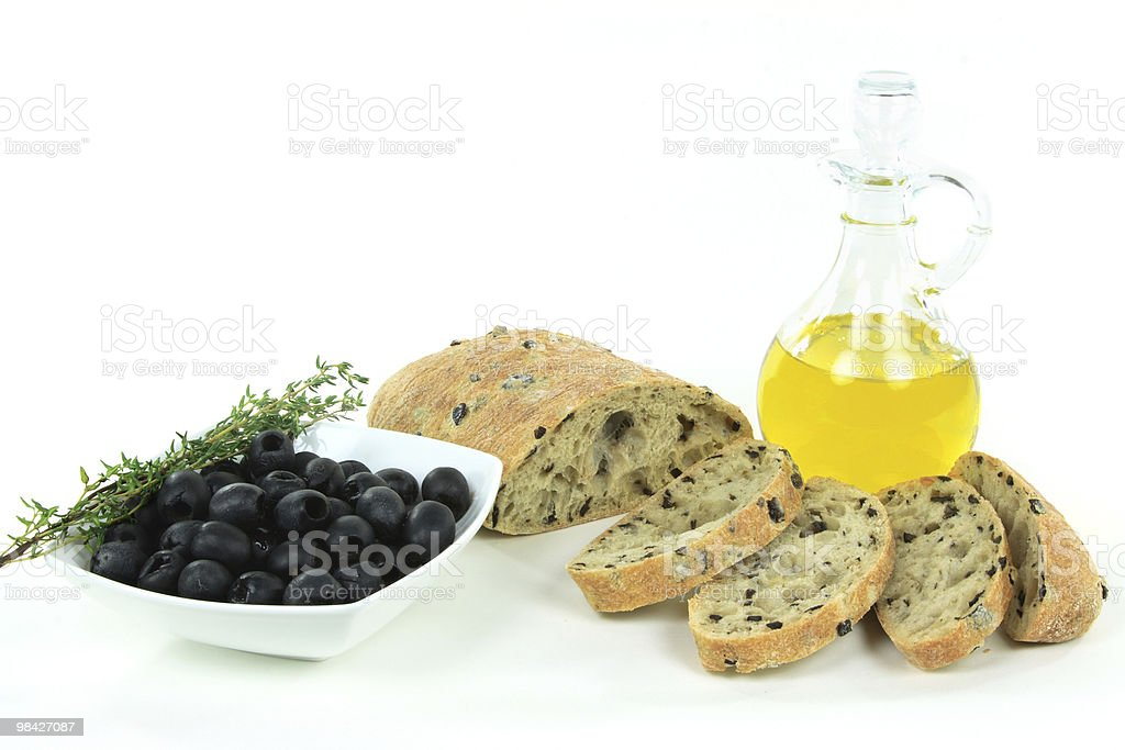 Sliced Mediterranean olive bread and raw products. royalty-free stock photo