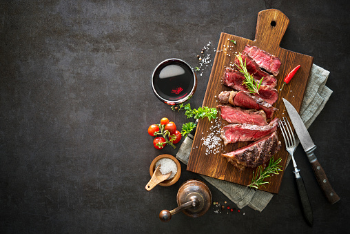 istock Sliced medium rare grilled beef ribeye steak 808351110