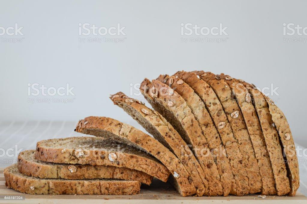 Sliced Multi-Grain Bread profile closeup stock photo