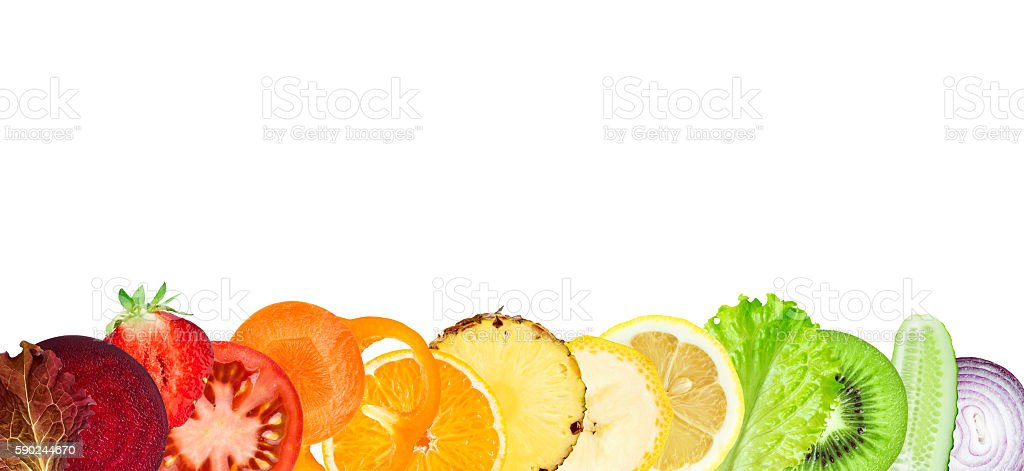 Sliced of fruits and vegetables stock photo
