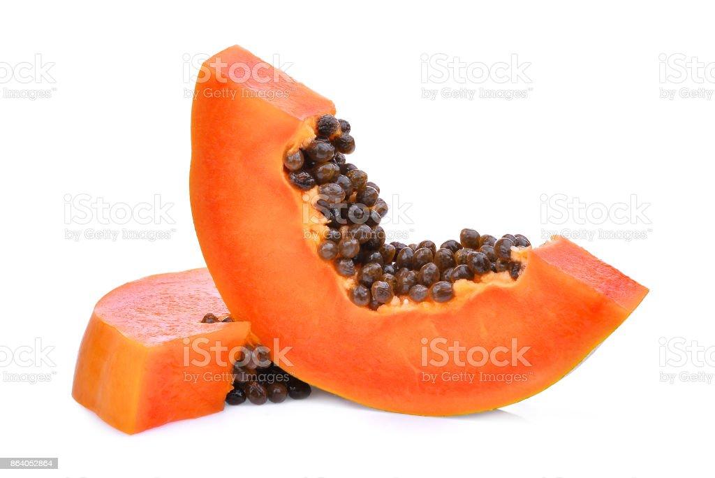 sliced of ripe papaya isolated on white background stock photo