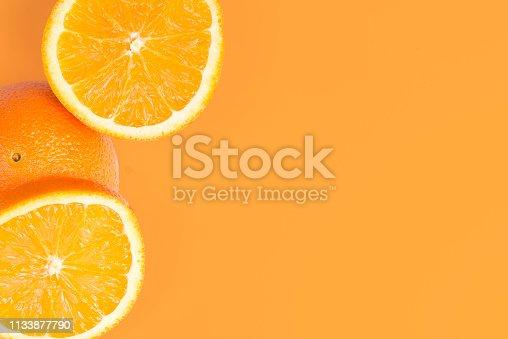 Sliced Orange On Orange Background