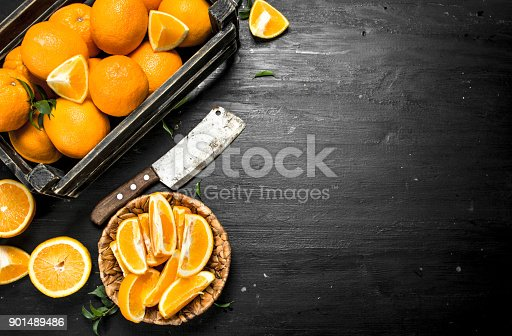 istock Sliced oranges in a bowl. 901489486