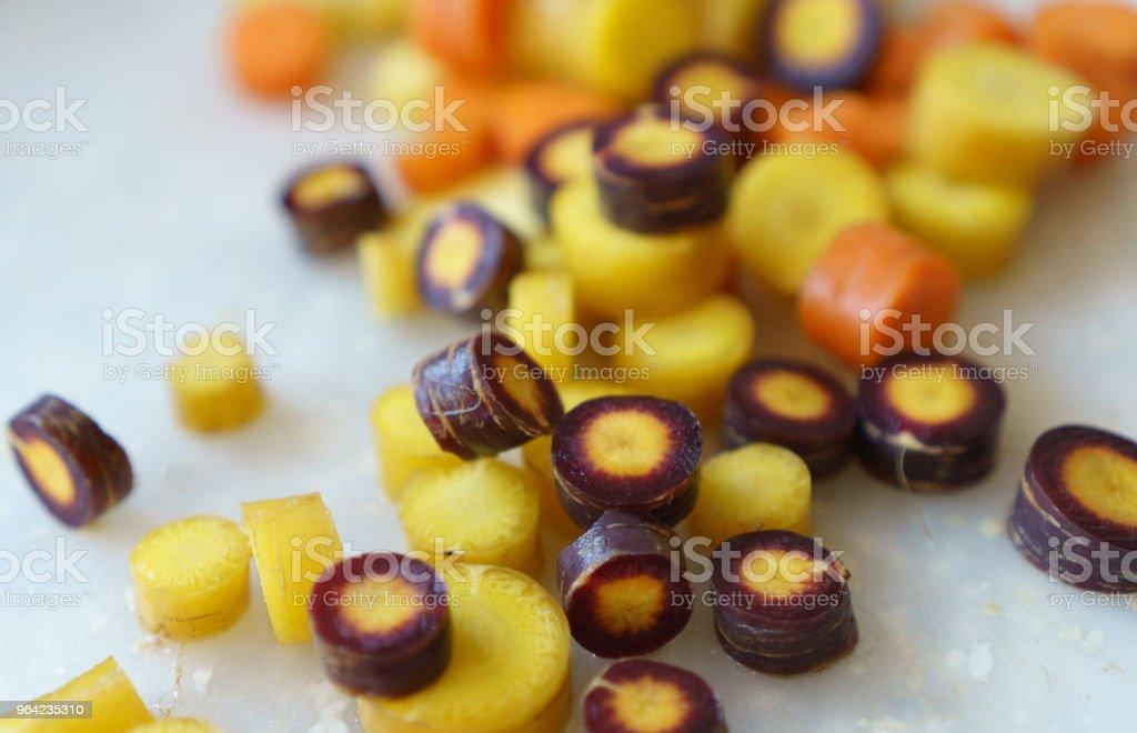 Sliced Organic Rainbow Carrots stock photo